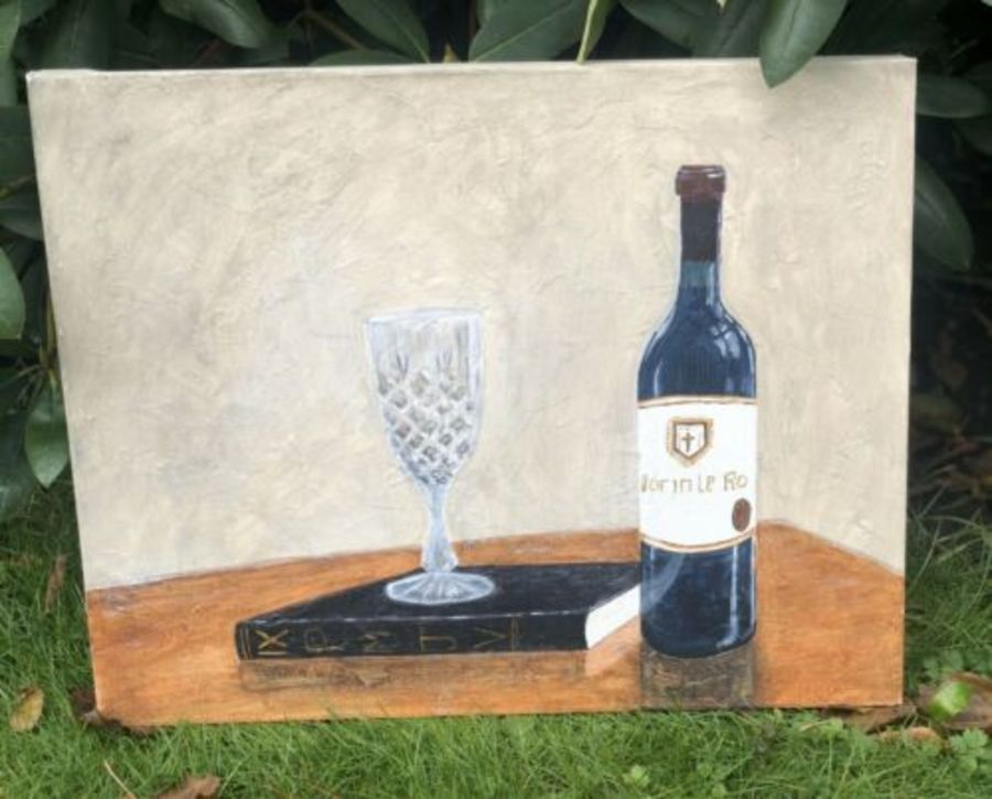 Wine Glass And Bottle Vintage Style Canvas Painting