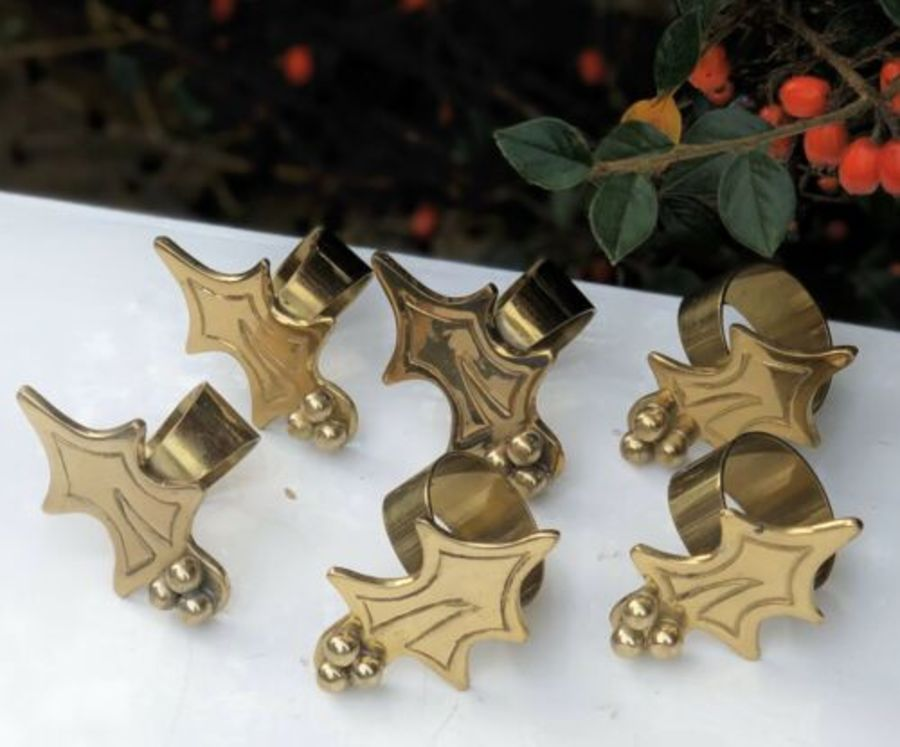 Brass Holly Leaf Berry Design Set Of Six Serviette Towelette Cloth Napkin Rings