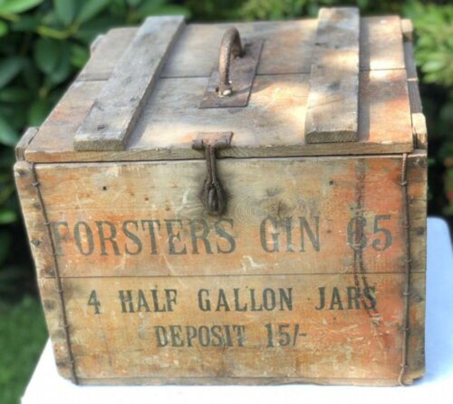 Forsters Gin RARE Original 4 Half Gallon Jars Gin Wood Wooden Case Box Crate