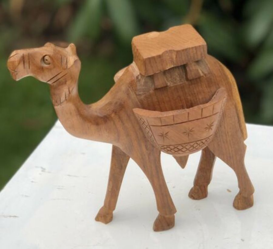Wooden Carved Egyptian Egypt Desert Camel Figure Figurine Sculpture Ornament