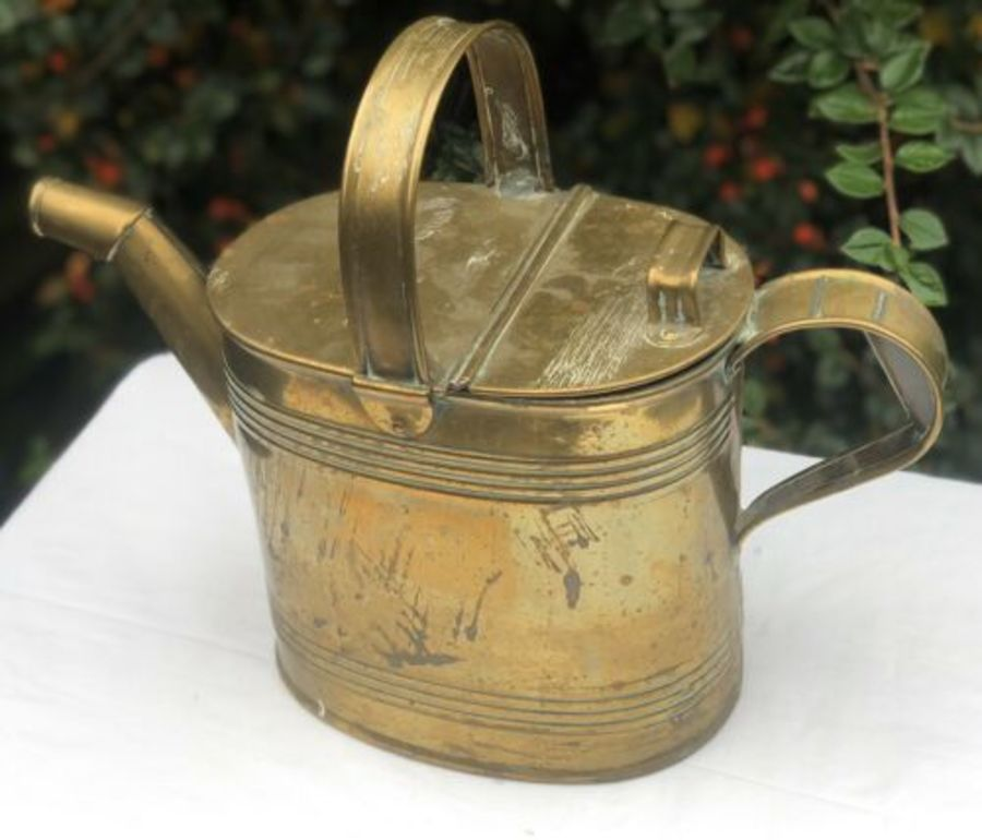 H F And Co Antique Brass Watering Can Canister Container Carrier