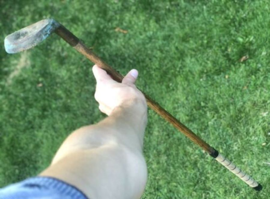 Antique RARE Bronze Medium Lite Golf Golfing Golfers Club