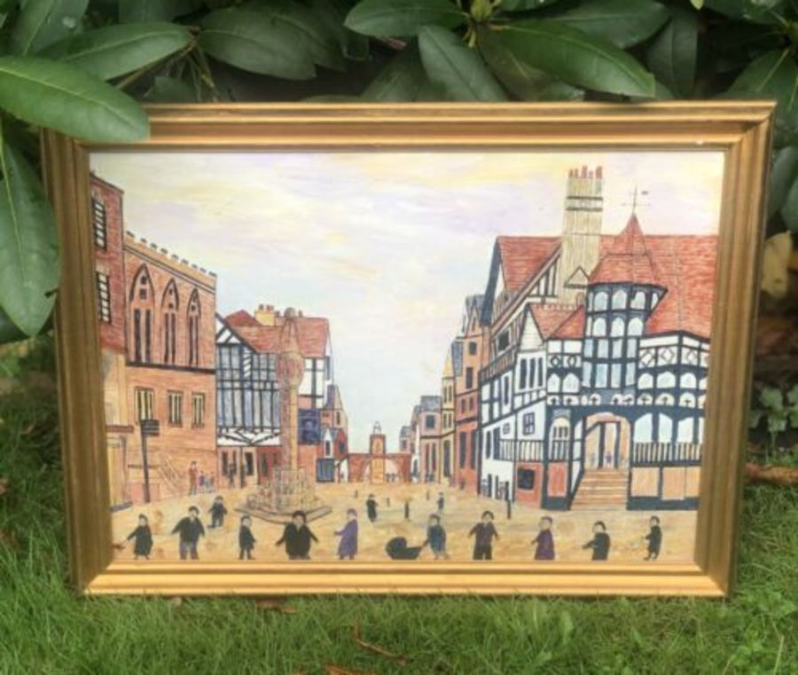 Lowry Inspired Matchstick Style The Cross Chester Painting Signed By Artist