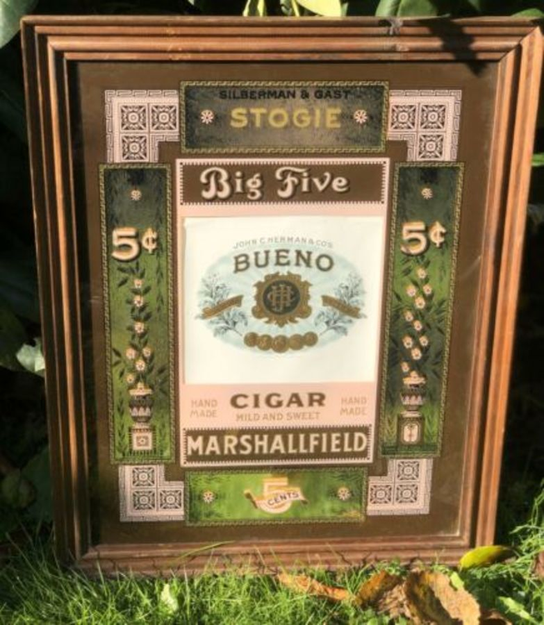 Silberman & Gast Stogie John C. Herman Big Five Bueno Cigar Advertising Mirror