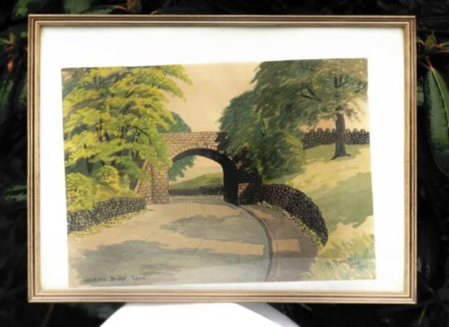 Lowe Hill Bridge Leek Staffordshire Vintage 1950s Signed Watercolour Painting