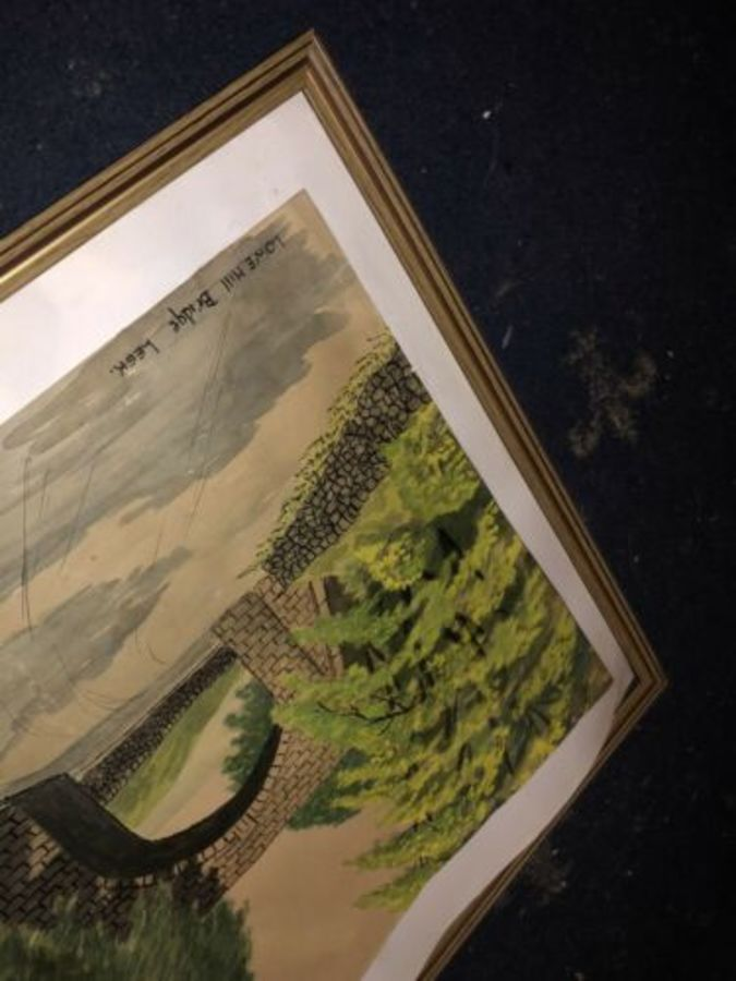 Antique Lowe Hill Bridge Leek Staffordshire Vintage 1950s Signed Watercolour Painting