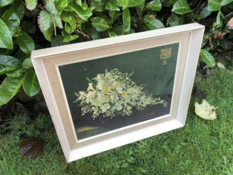 Antique Royal Family EIIR Royal Cypher RARE Vintage Framed Flower Picture