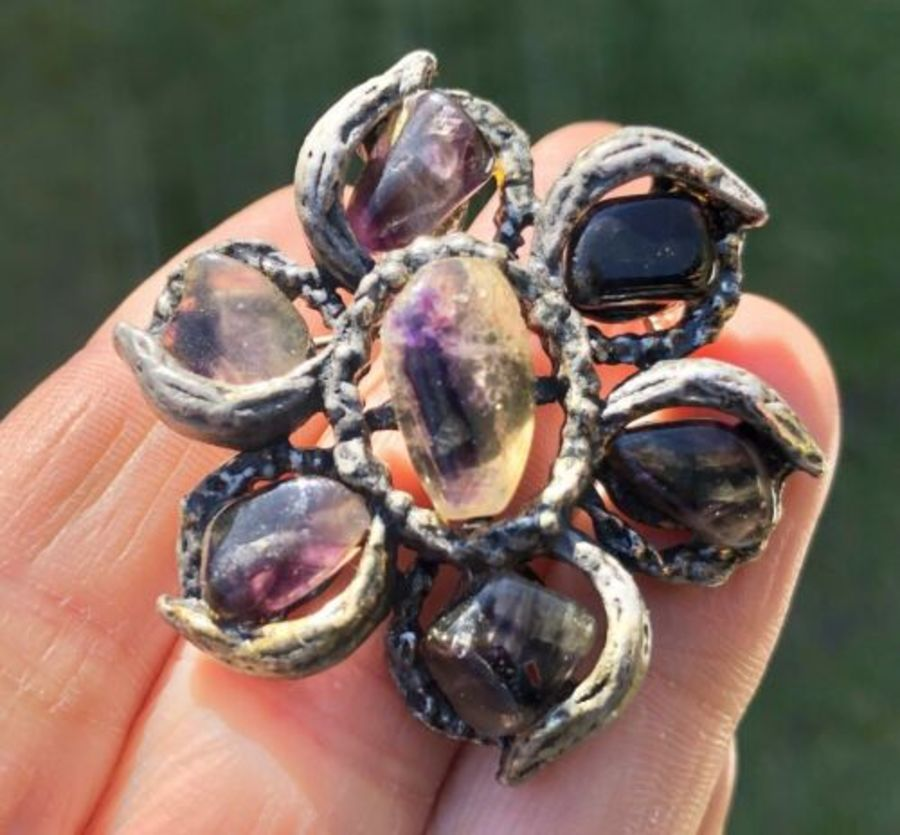 Blue John Rare Derbyshire Stone Antique Floral Flower Shaped Brooch