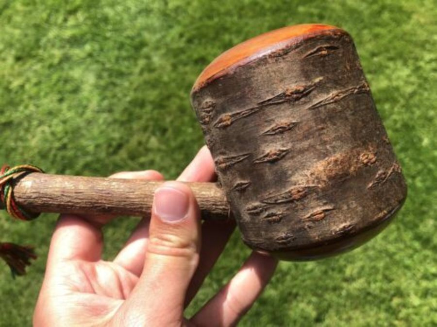 Antique Wooden Large Carved Vintage Pipe Made From A Tree Trunk