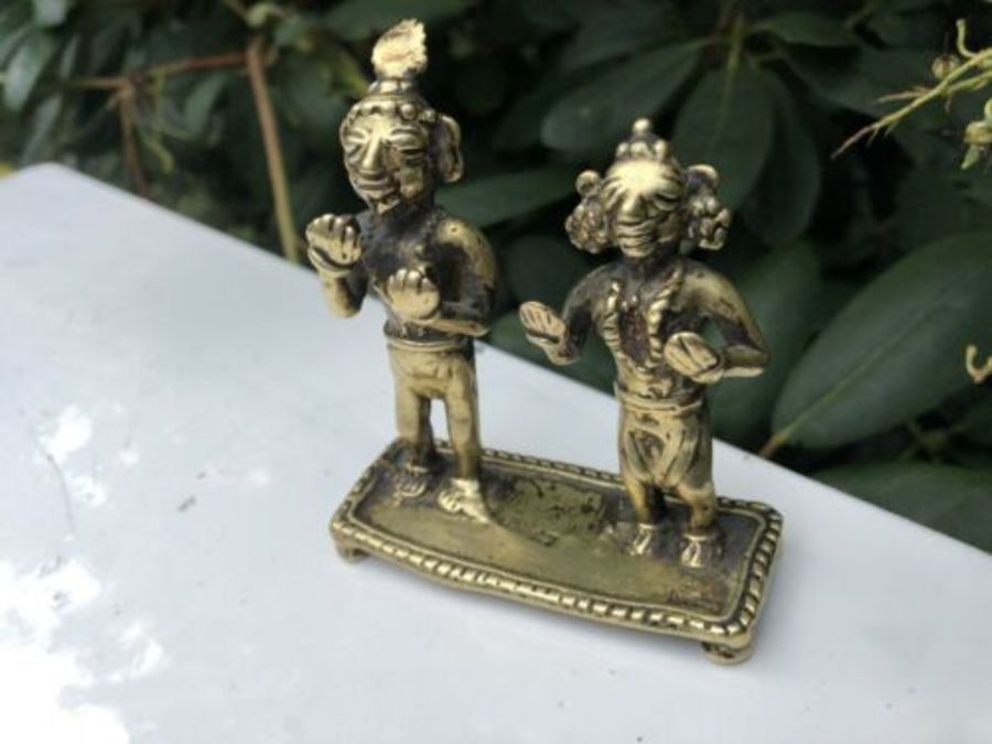 Antique Oriental Chinese Brass Kung Foo Martial Arts Figurine Ornament Sculpture