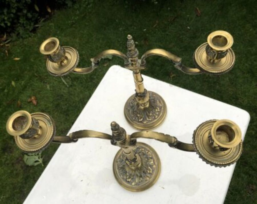 Antique Antique Brass Pair Of Two Candelabra Candlestick Candelabrum Candle Tree Holder