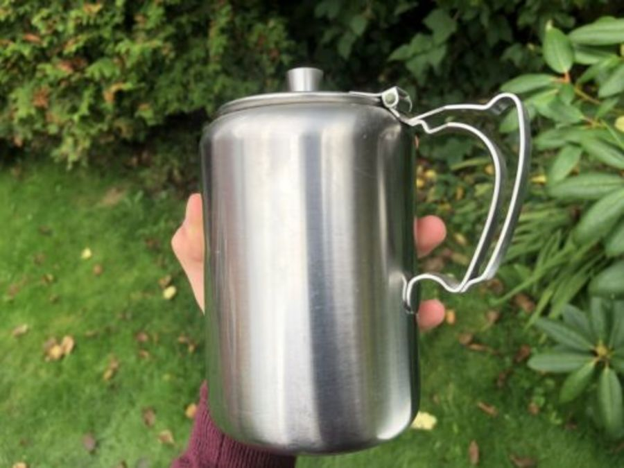 Antique Stainless Steel Old Hall Tall Wide Arts & Crafts Style Teapot Tea Coffee Pot