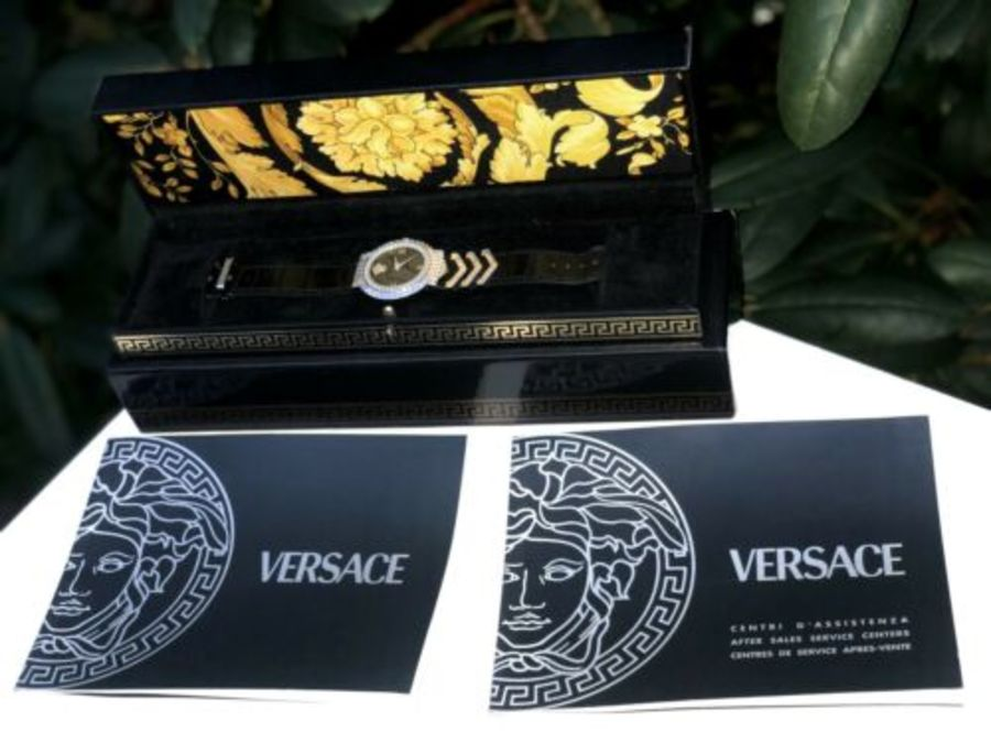 Versace Rare White Gold Plated Swiss Medusa Head Vintage Ladies Watch