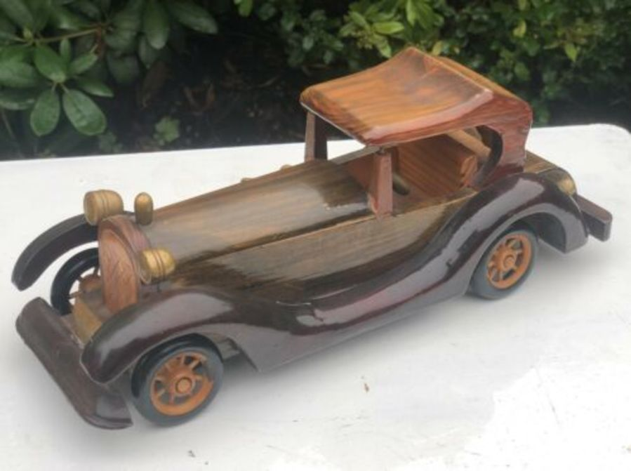 Shudehill Giftware Wood Wooden Model Rolls Royce Vintage Classic Car Ornament