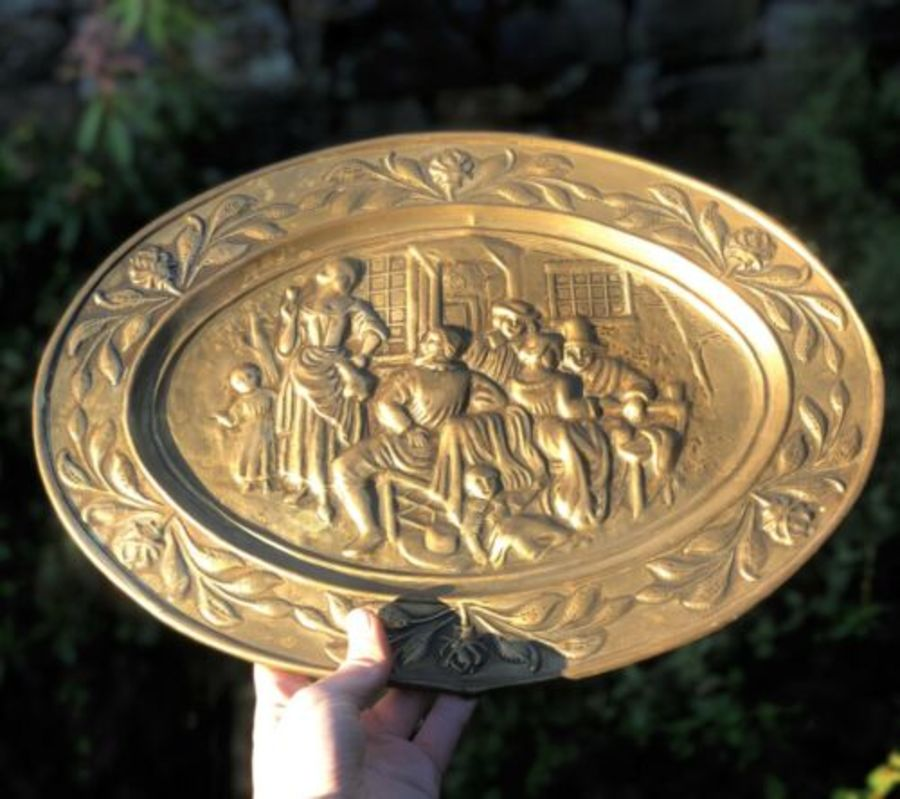 Antique Brass English British Pub Bar Scene Wall Plaque