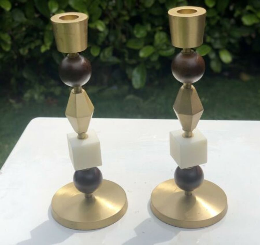 Brass Marble And Wood Vintage Style Candle Sticks Candle Holders Candle Stands