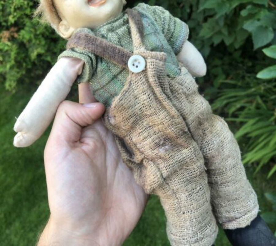 Antique Antique Vintage Scarecrow Scare Crow Boy Child RARE Porcelain Head Doll