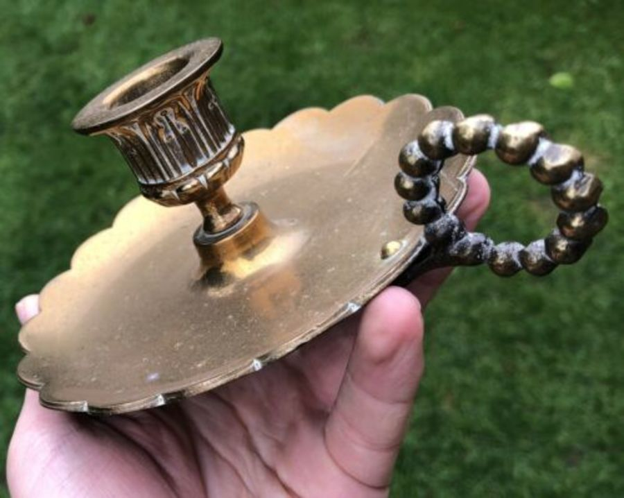 Antique Antique Brass Candle Stick Stand Holder With Flower Shaped Drip Tray