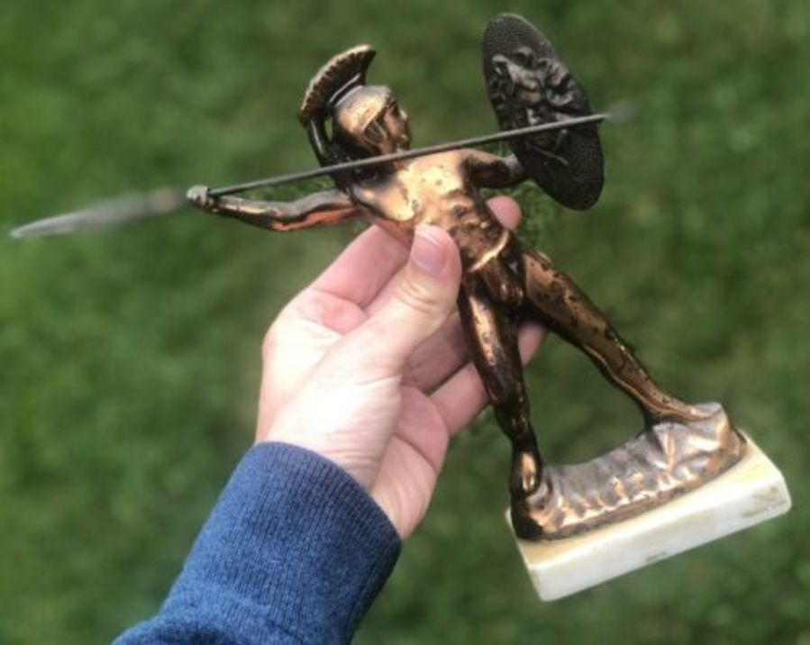 Vintage Copper Roman Or Greek Soldier Figure