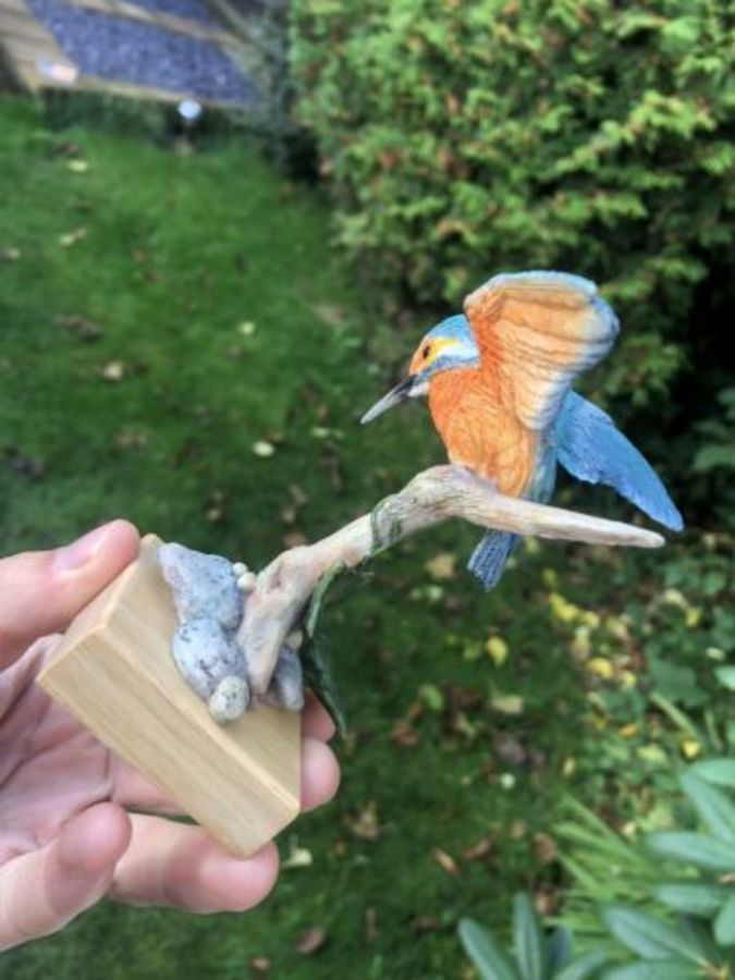 Antique Country Artist Broadway Birds Kingfisher Figure Figurine Ornament Sculpture