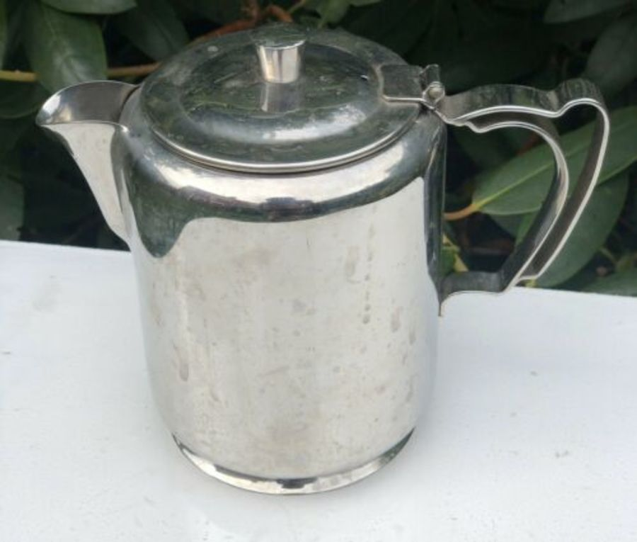 Stainless Steel Old Hall Art Nouveau Style Tall Coffeepot Tea Pot Coffee Teapot