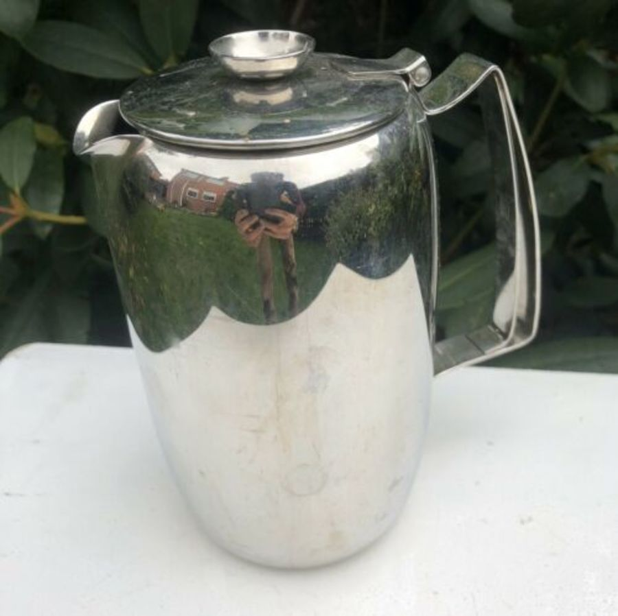 Old Hall Stainless Steel Tall Art Nouveau Style Teapot Tea Coffee Pot