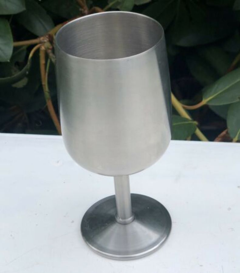 Winton Stainless Steel Tall Thin Cup Goblet Chalice Glass Drinking Vessel