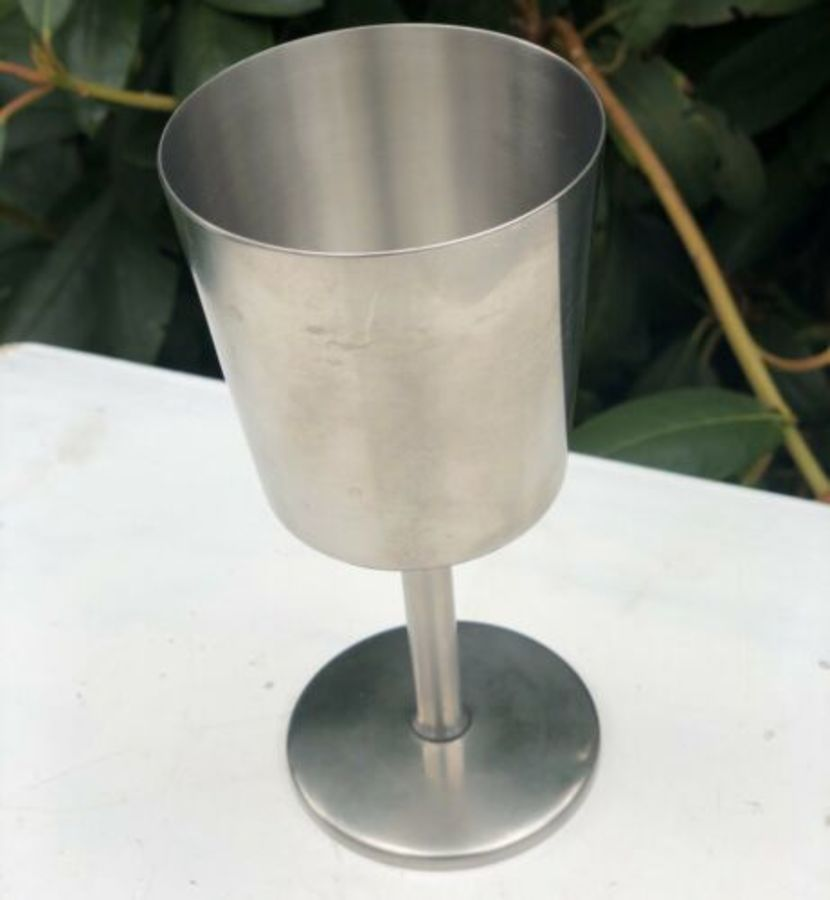 Old Hall Stainless Steel Tall Thin Cup Goblet Chalice Glass Drinking Vessel