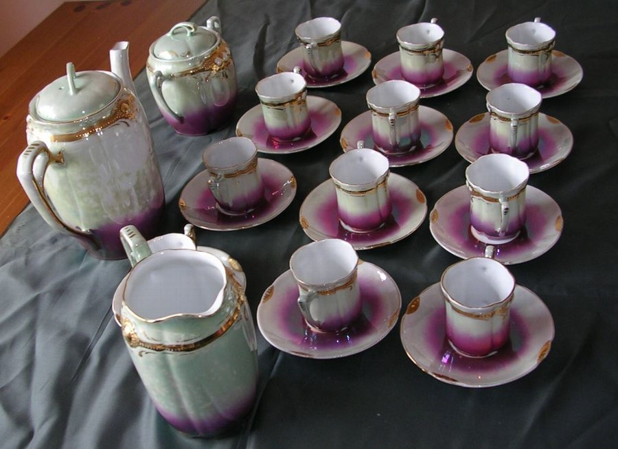 Antique Victorian Porcelain Coffee / Chocolate Set. Serves 12
