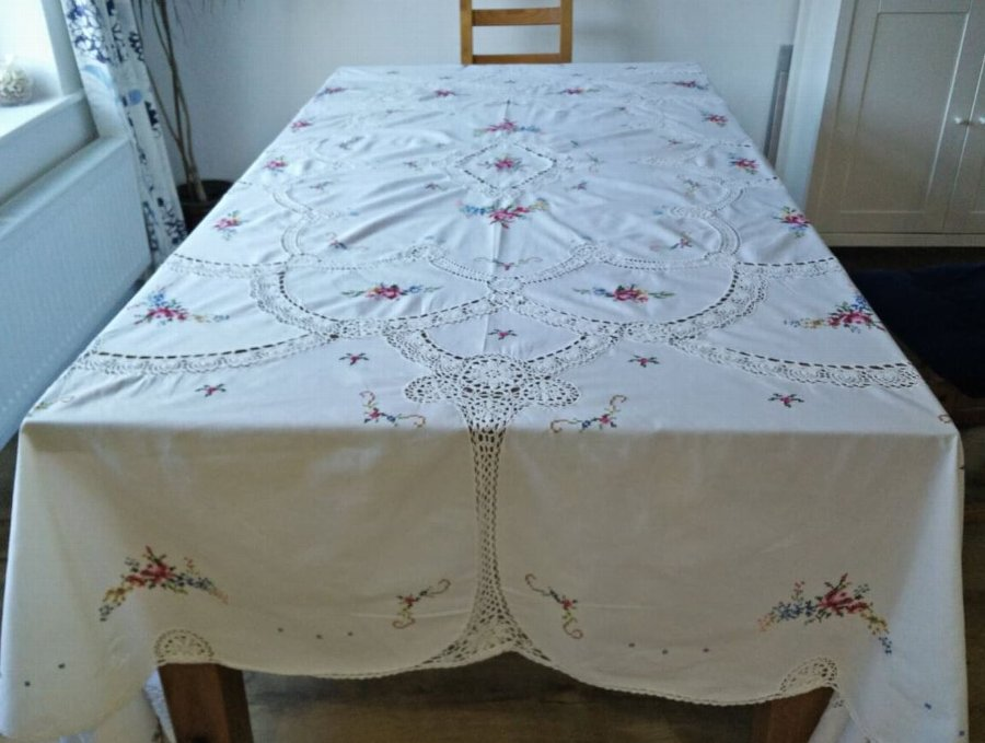 Antique / Vintage Italian Handmade Cross Stitch and Lace Crochet Tablecloth