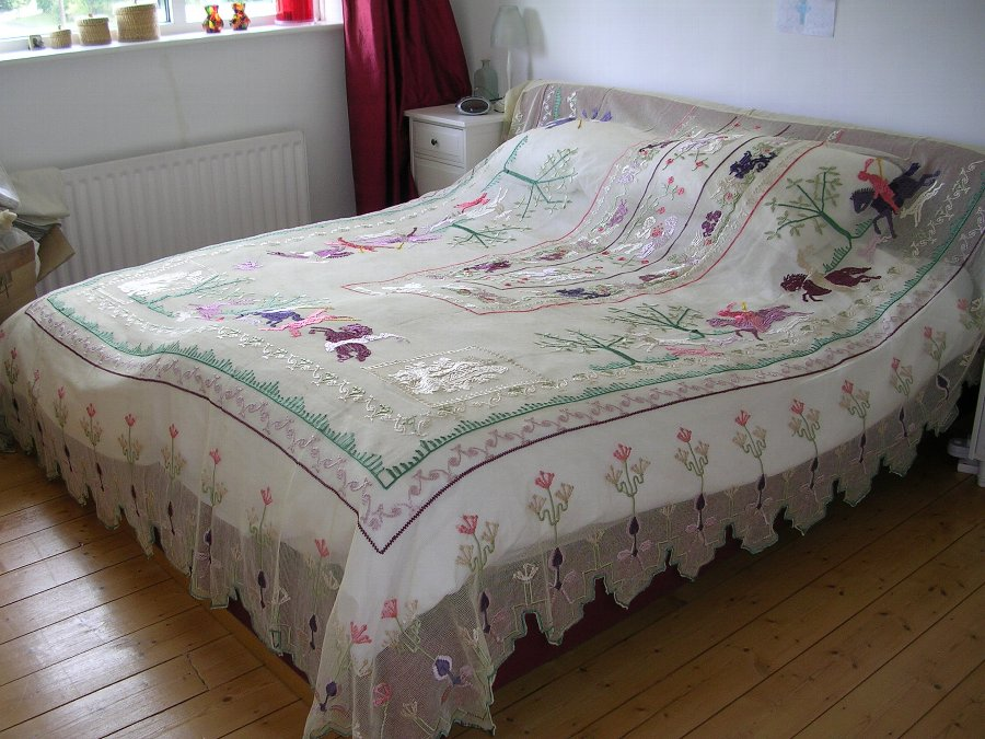 Italian / Vintage Bedspread Embroidered on Net / Lace. Period 1900 - 1920