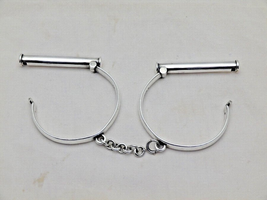 Antique Hand Cuffs Theo Fennell SM Solid Silver Handcuffs Restraint Full Size (792-D-KNN)
