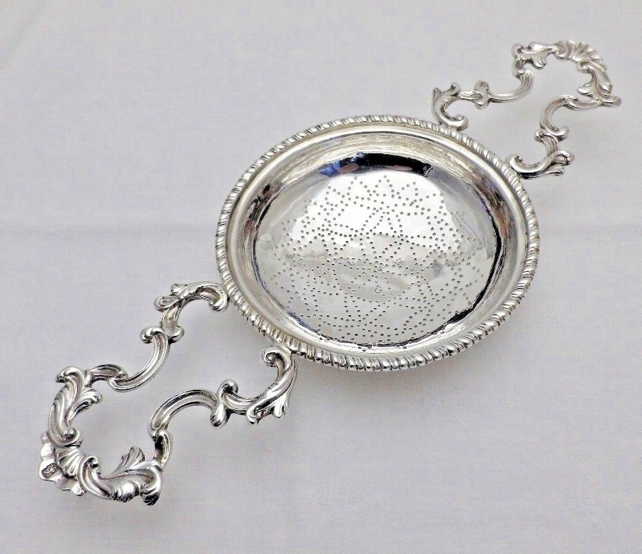 1766 Georgian Antique Solid Silver Large Lemon Punch Fruit Strainer (840-9-LSNY)