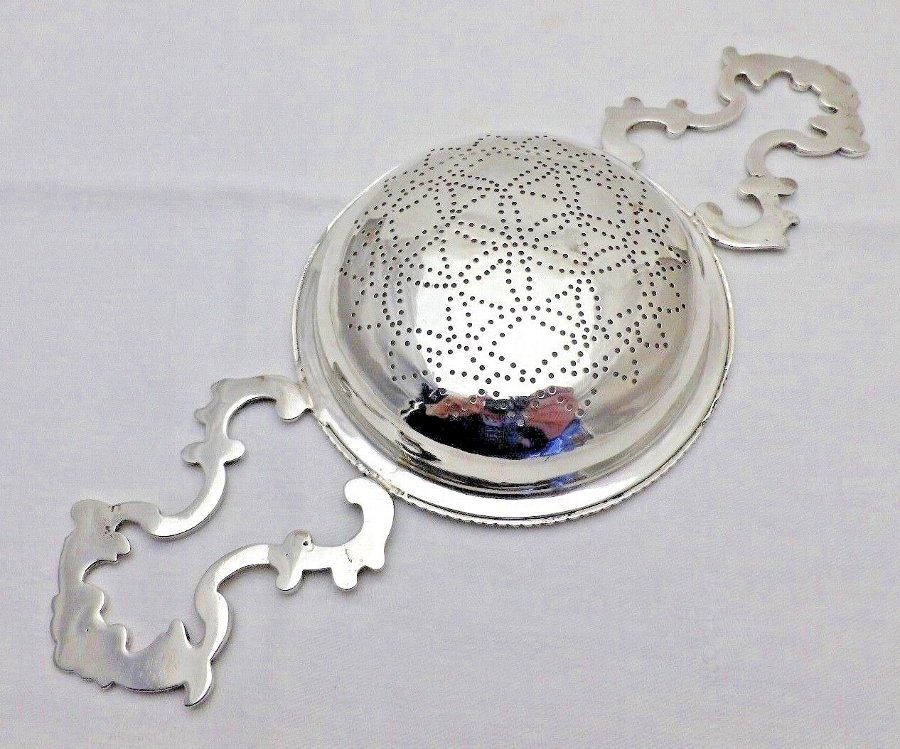 Antique 1766 Georgian Antique Solid Silver Large Lemon Punch Fruit Strainer (840-9-LSNY)