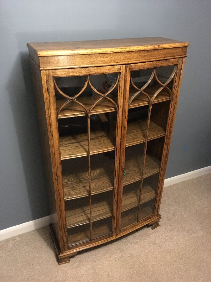 Bow Fronted Oak Bookcase