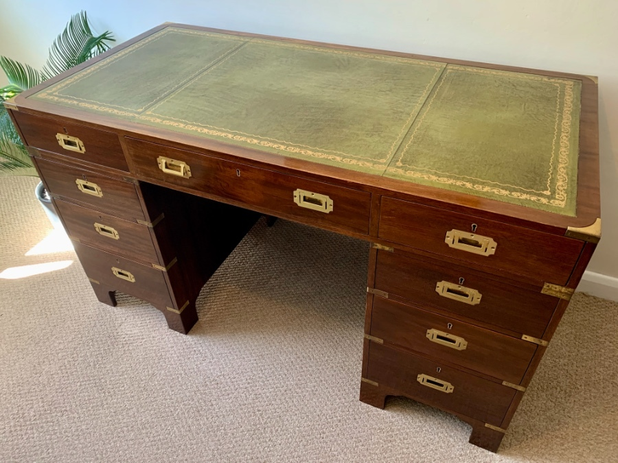 Military Campaign Pedestal Writing Desk, mid Century.