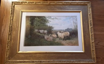 Antique A VICTORIAN WATERCOLOUR LANDSCAPE WITH SHEEP, GEORGE SHALDERS SIGNED AND DATED.