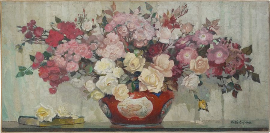 Antique Big bouquet of roses