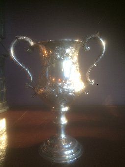 Antique Antique Solid Silver Trophy Goblet By George Unite Birmingham 1869 Weighs 489 G
