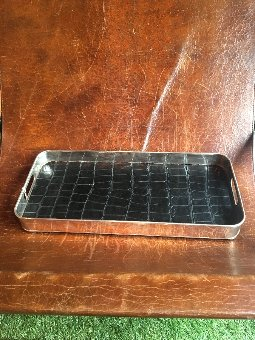 Antique Deco silver and leather tray.