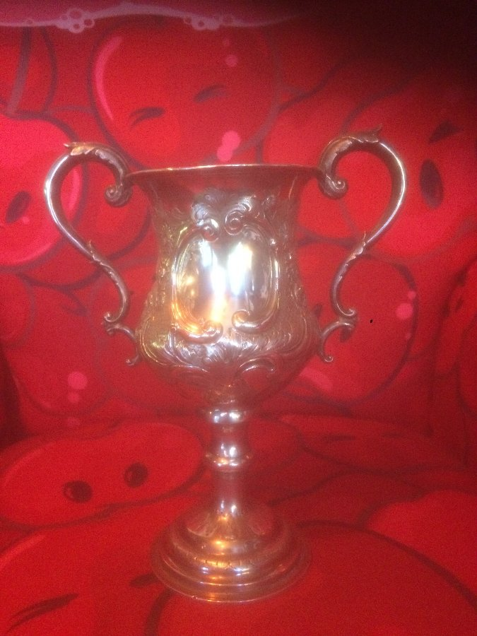 Antique Solid Silver Trophy Goblet By George Unite Birmingham 1869 Weighs 489 G