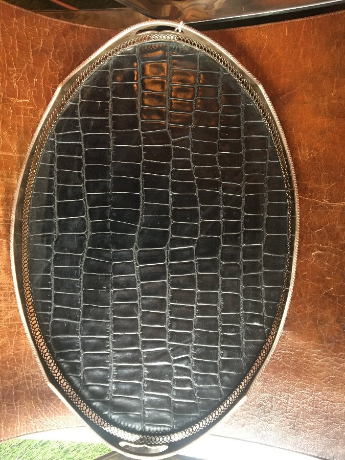 Antique Large silver plate tray with croc leather.