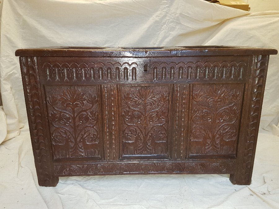 Coffer - Carved Oak - Seventeenth Century