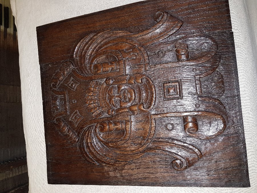 Carved Oak Coffer Panel