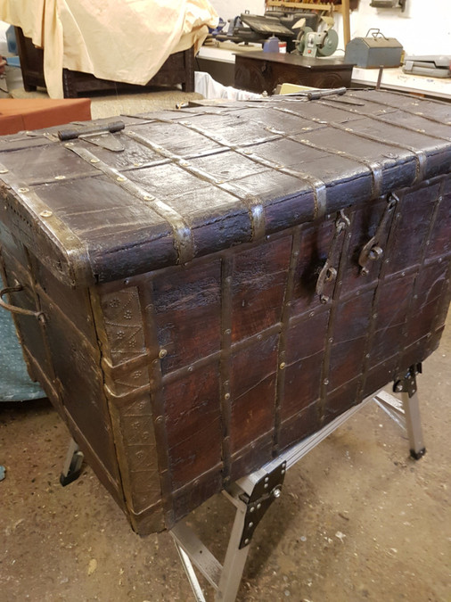 Antique 19th century teak iron bound sea chest