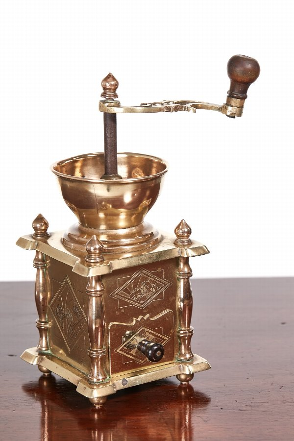 Unusual Victorian Brass Coffee Grinder