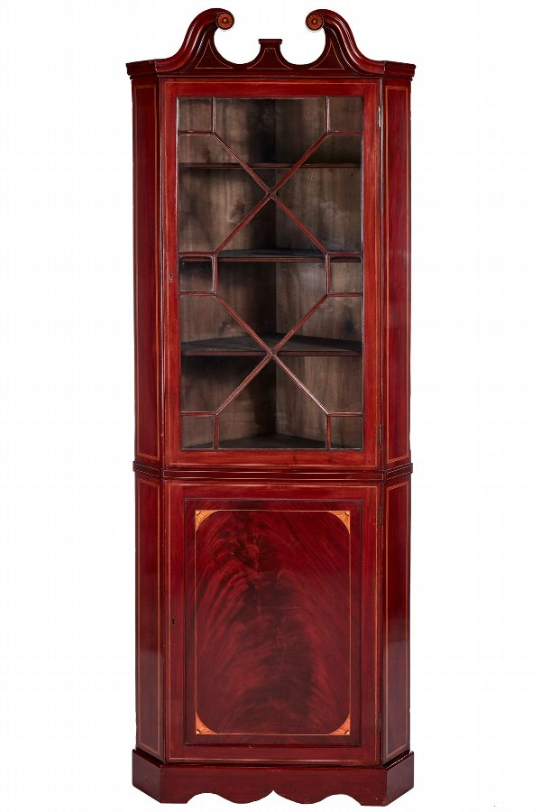 Quality Antique Mahogany Inlaid Corner Cabinet
