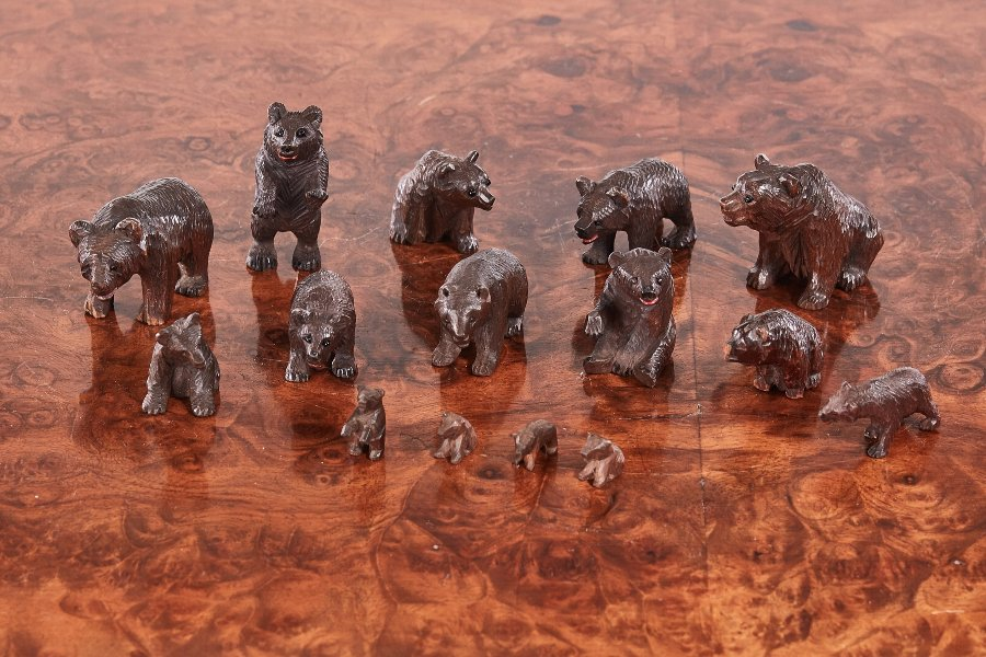 15 Antique Miniature Carved Black Forest Bears