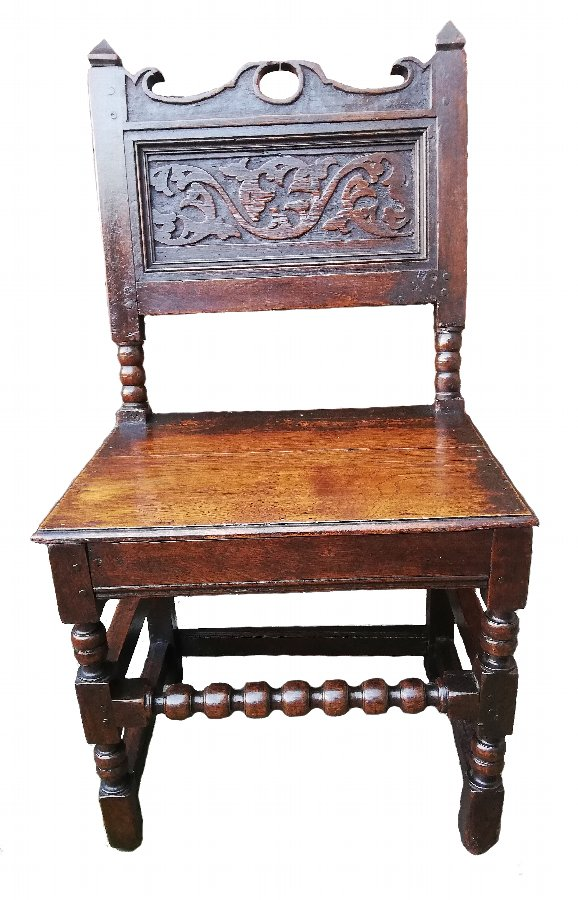 17th century Charles II (1660-85) period oak Lancashire side chair or backstool C.1670
