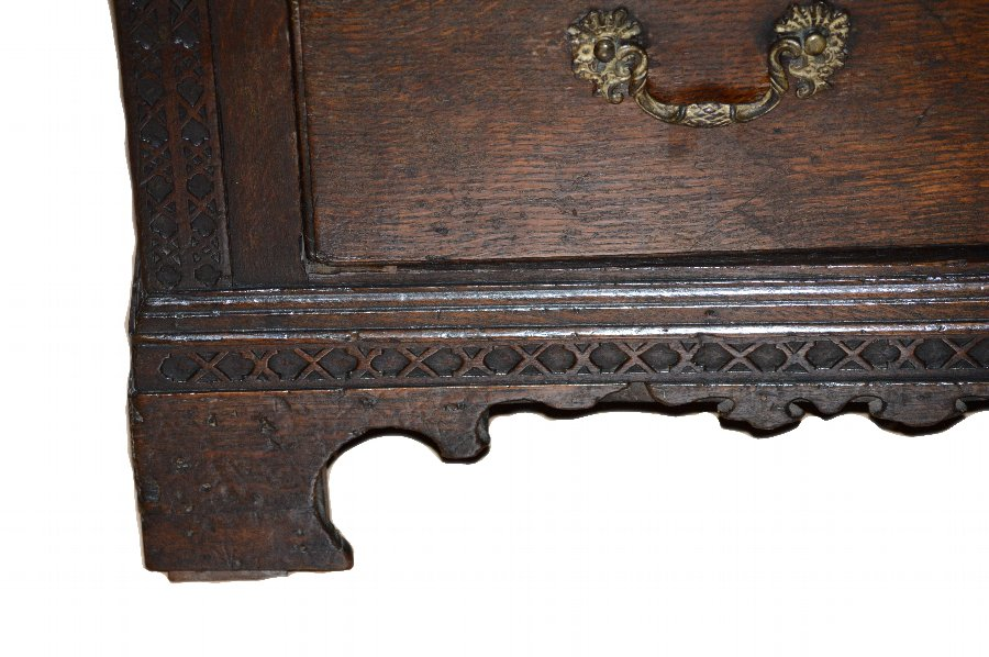 Antique English George III. Chippendale period Oak Chest of Drawers C.1760